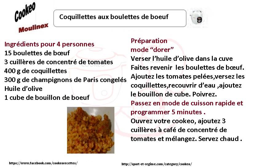 Recette Cookeo Coquillettes Aux Boulettes De Boeuf