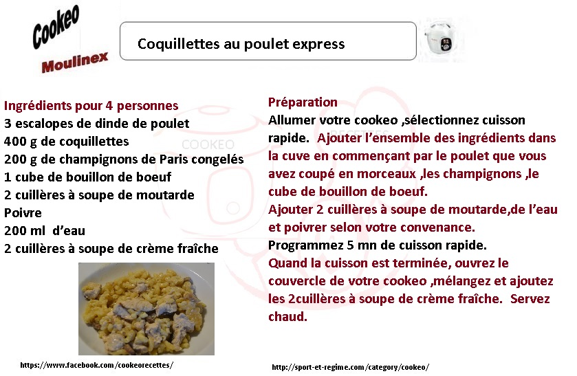 COQUILLETTES POULET COOKEO