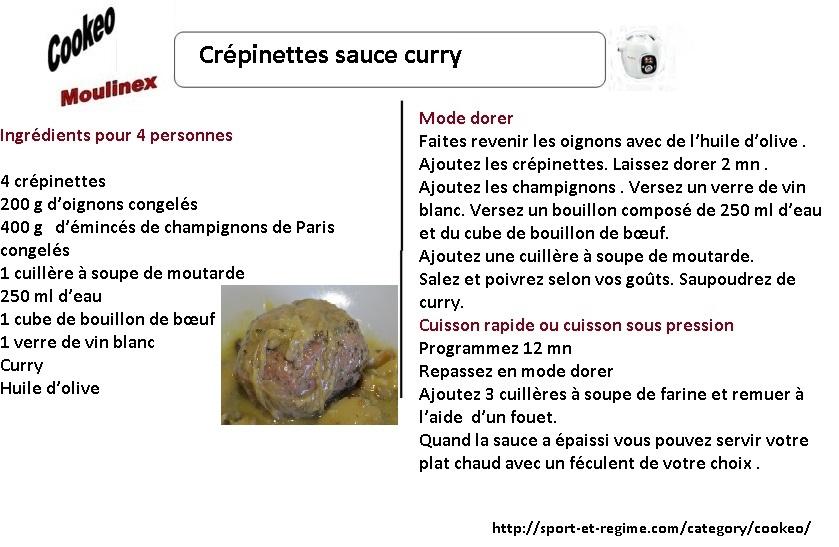 Fiche recettes cookeo cr pinettes sauce curry - Cuisiner des crepinettes ...