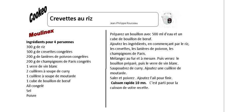Crevettes au riz une fiche recettes cookeo - Recette de noel au cookeo ...