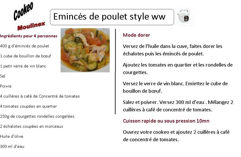 Fiche recette cookeo émincés de poulet à la tomate wwatchers