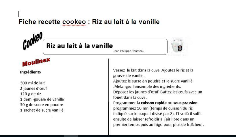 Fiche recette cookeo riz vanille