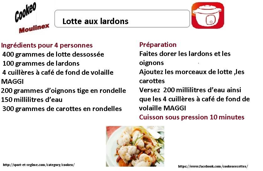 recette cookeo lotte aux lardons