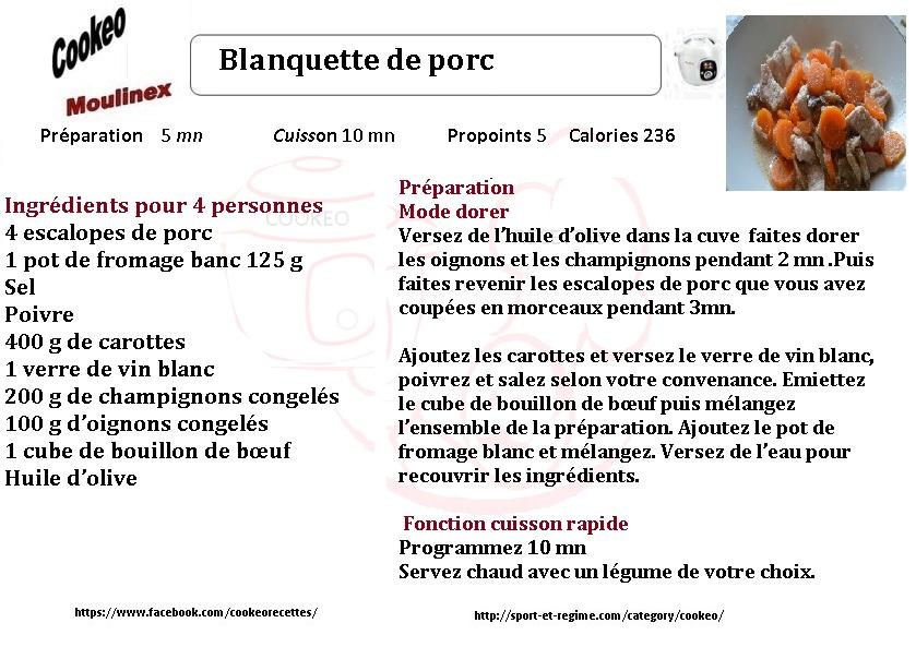 Recette cookeo diététique blanquette de porc