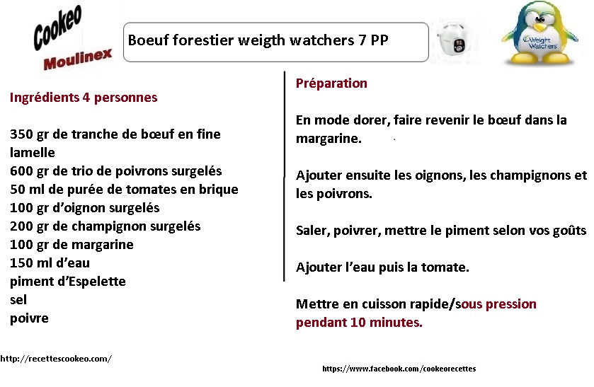 boeuf forestier weight watchers au cookeo la fiche. Black Bedroom Furniture Sets. Home Design Ideas