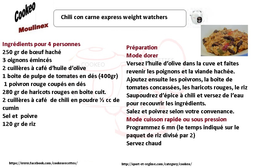 chili con carne express weight watchers une recette cookeo. Black Bedroom Furniture Sets. Home Design Ideas