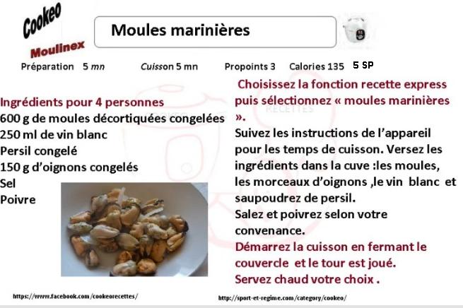 Recette cookeo diététique moules marinières