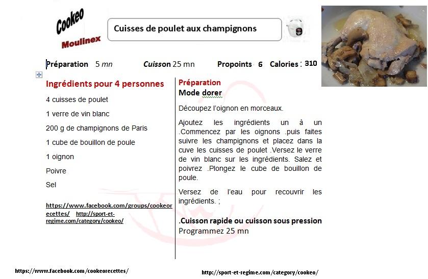 cuisses de poulet aux champignons au cookeo recettes faciles rapides au cookeo et autres. Black Bedroom Furniture Sets. Home Design Ideas