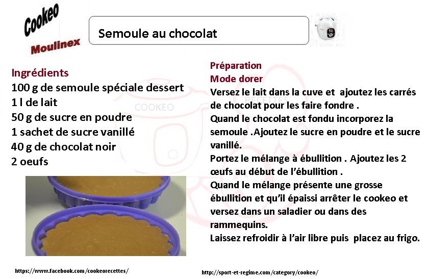 cookeo Semoule au chocolat