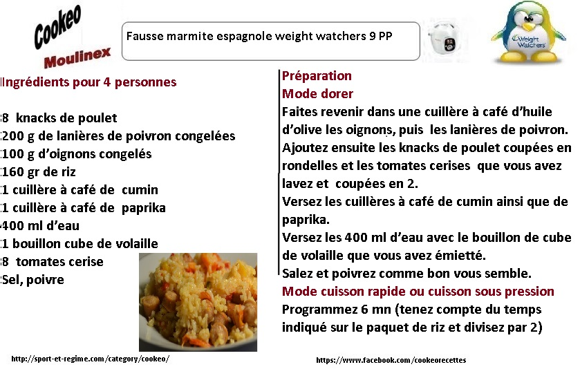 fiche recette cookeo fausse marmite espagnole weight. Black Bedroom Furniture Sets. Home Design Ideas