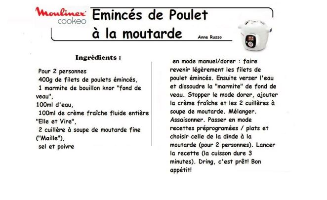 poulet moutarde cookeo