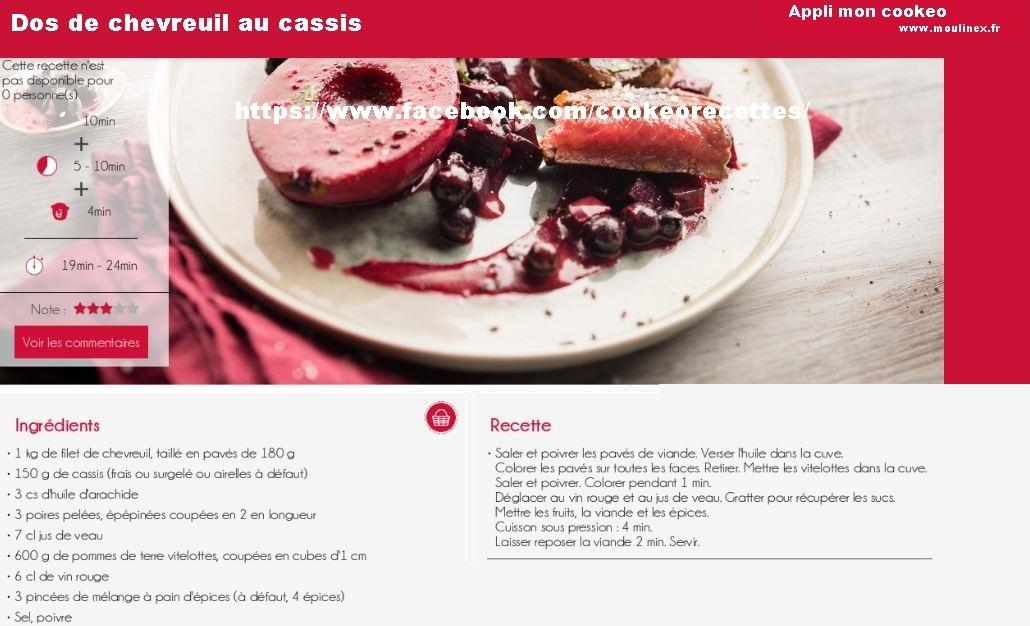 Dos de chevreuil au cassis une recette cookeo pour no l - Recette de noel au cookeo ...