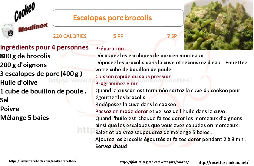 Fiche cookeo escalopes porc brocolis