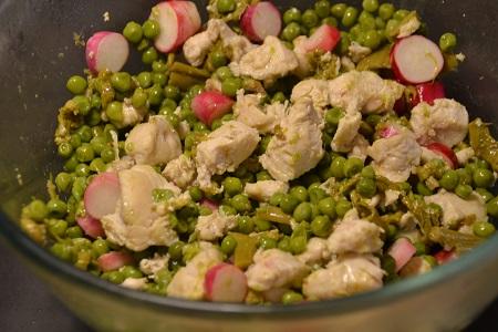 Salade poulet petit pois radis au cookeo