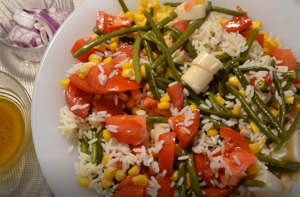 Salade composée riz haricots verts cookeo